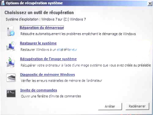 Reparation du démarrage windows 7