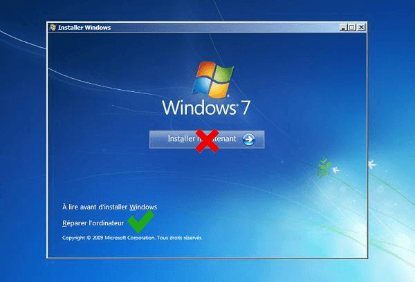 reparer windows 7 avec dvd