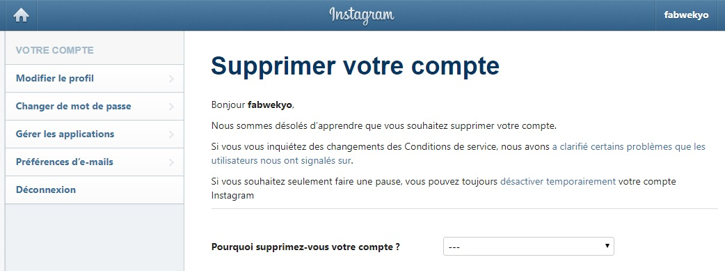 acces suppression compte insta