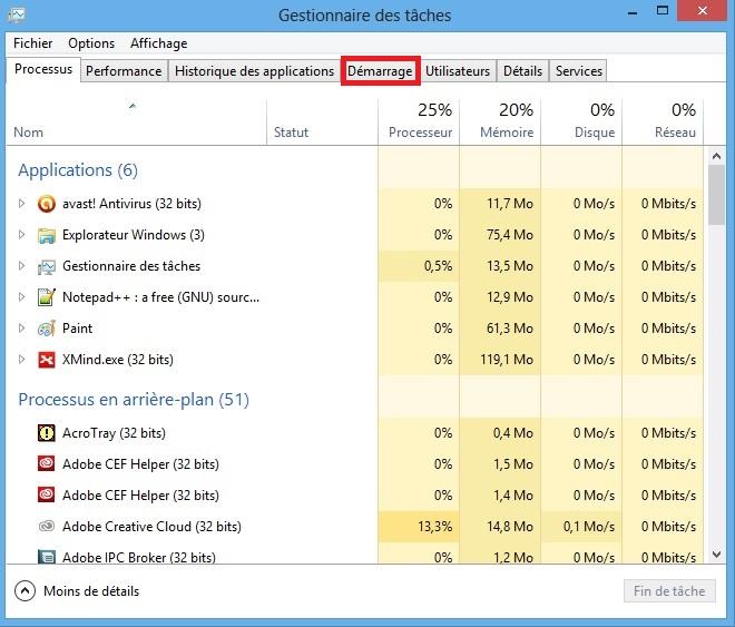 D sactiver les programmes au d marrage de windows 8 et 10 for Gestionnaire de fenetre