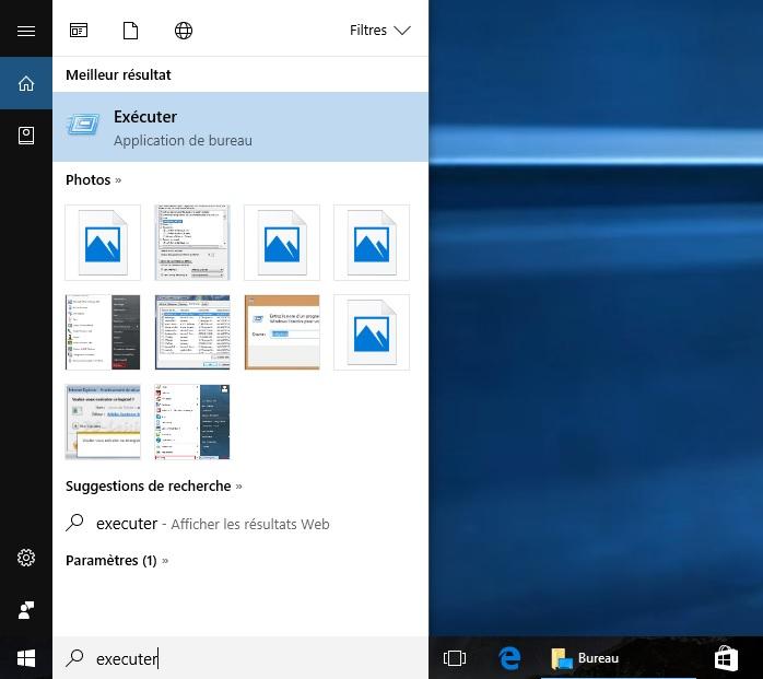 ouvrir application executer windows 10