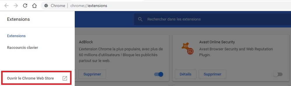 Ouvrir Chrome web store
