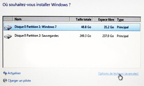 installer windows dans une partition