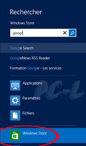 Rechercher une application dans Windows Store