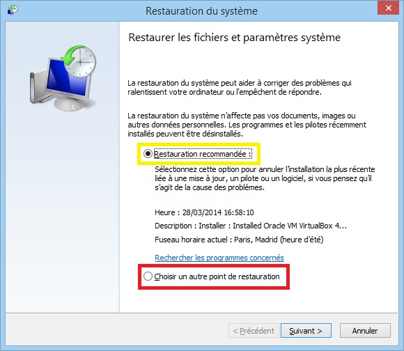 restaurer parametres systeme windows 7