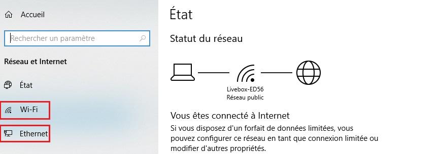 Paramètres réseau et internet