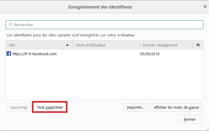 Supprimer tous les mdp firefox